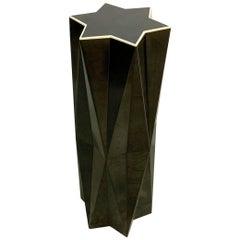 Wonderful Mid-Century Modern Grey Goat Skin Bone Trim Star Art Deco Pedestal