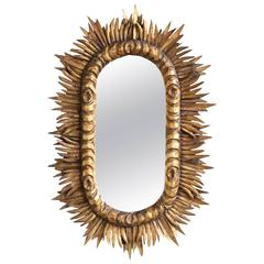 Spanish 1950s Giltwood Oval Sunburst Mirror