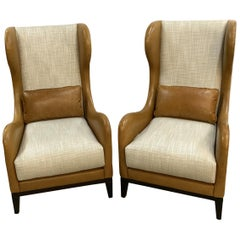 Pair of Beige Linen Tan Leather Wing Back Chairs Matching Lumbar Pillows