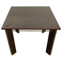 Fine Mid-Century Modern Ashwood Polished Bronze Square Lacquered Game Table