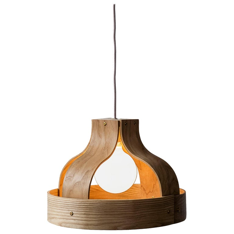 Wood Pendant Light, Bound by Carnevale Studio, Maple For Sale