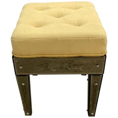 Wonderful Vintage Venetian Etched Mirrored Italian Upholstered Stool or Bench