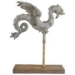 Antique French Dragon Form Zinc Weathervane Element