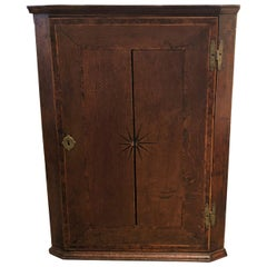 Late 18 Century English Oak Hanging Corner Cabinet