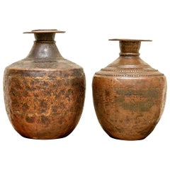 Pair of Similar Southeast Asian 18th Century Copper Urns
