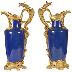 Pair of 19th Century French Louis XV Style Gilt Bronze-Mounted Chinese Vases