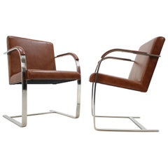 Pair of Midcentury Leather Chairs Brno, Mies Van Der Rohe, Knoll, 1970s