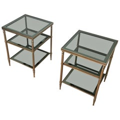 Pair of Silvered Side Tables with Blueish Glass Top, Attributed to Maison Jansen