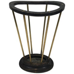 Attributed to Jacques Adnet, Ebonized Wood and Brass Umbrella Stand