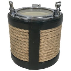 In the Style of Jacques Adnet, Unusual Chrome, Leather and Rope Ice Bucket