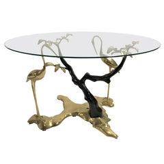 Bronze Crane Bird Coffee Table by Willy Daro, 1970s