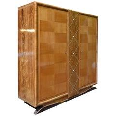 Beech and Rosewood Scandinavian Art Deco Cabinet, 1940s