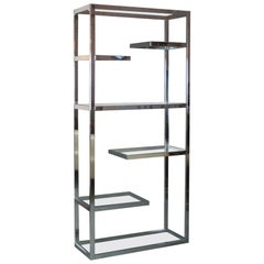 Milo Baughman, Chrome Etagere with Glass Shelves