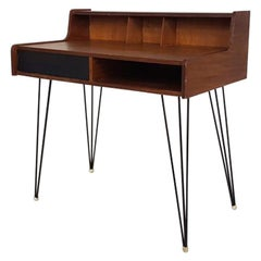 Minimal Hairpin Teak Desk by Cees Braakman for Pastoe, Dutch Design, 1950s