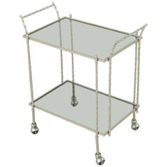 Midcentury French Maison Baguès Silvered Brass Faux Bamboo Bar Cart Smoked Glass