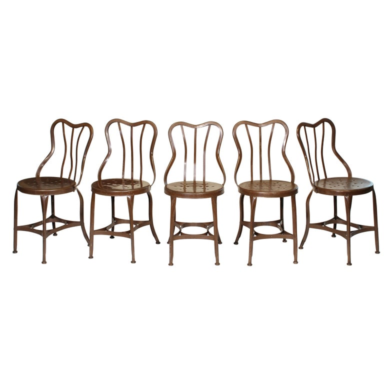 Set of 5 Antique Metal Cafe Chairs by Toledo For Sale