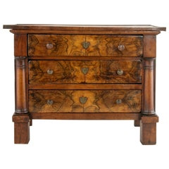 Miniature French Empire Period Burl Walnut Commode or Chest Meuble de Maitrise