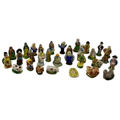 French Provençal Faïence Fèves Christmas Nativity 29 Pc Set