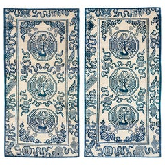 Pair of Blue and White Tibetan Rugs by Carini