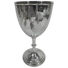 Antique English Sterling Silver Goblet with Fluid and Festive Scrolls