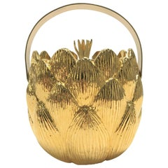 Vintage Brass Artichoke Ice Bucket by Hans Turnwald, 1980s