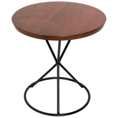 California Modern Walnut and Iron End Table