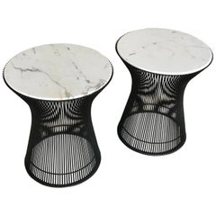 Pair of Warren Platner Side Tables for Knoll, with Carrara Marble
