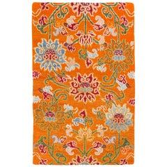Tibetan Wool Orange Floral Handwoven Rug by CARINI