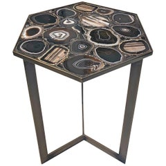 Unique Agate Stones Mosaic Side Coffee Table