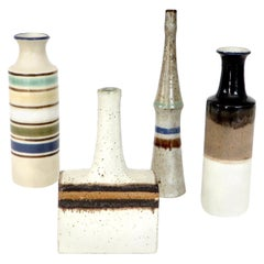 Four Small Italian Ceramic Mini Bottles by Bruno Gambone