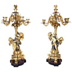 Huge 19th Century Philippe Mourey Ormolu Louis XVI Style Putti Candelabras