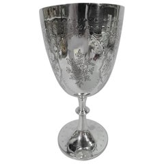 Antique English Sterling Silver Goblet with Pretty Flowers