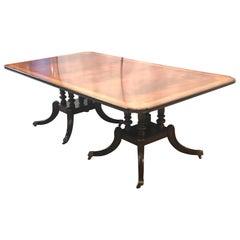 Crotch Mahogany Satinwood Banded Double Pedestal Quad Leg Dining Table