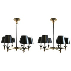 Pair of Jacques Adnet French 6-Light Chandeliers