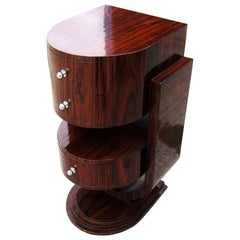 ]Vintage Walnut Art Deco Style Side Table Nightstand