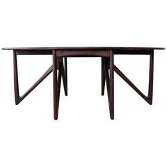 Niels Koefoed Rosewood Gate Leg Dining Table, Denmark, 1960s