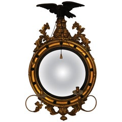 Federal Convex Gilt Gold Wall or Console Mirror Adorning a Winged Eagle