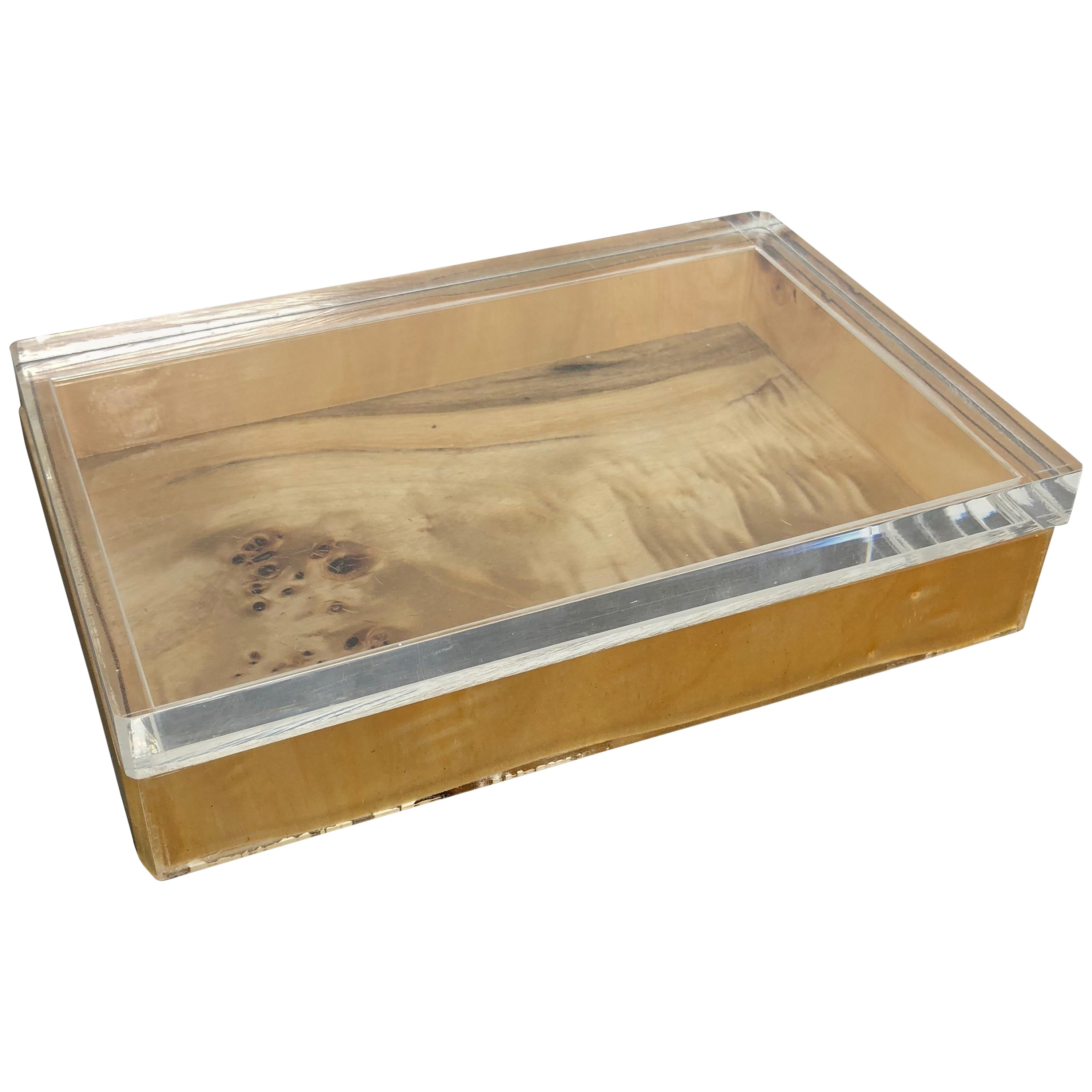 1970s Modernist Box in Lucite and Lacquered Wood