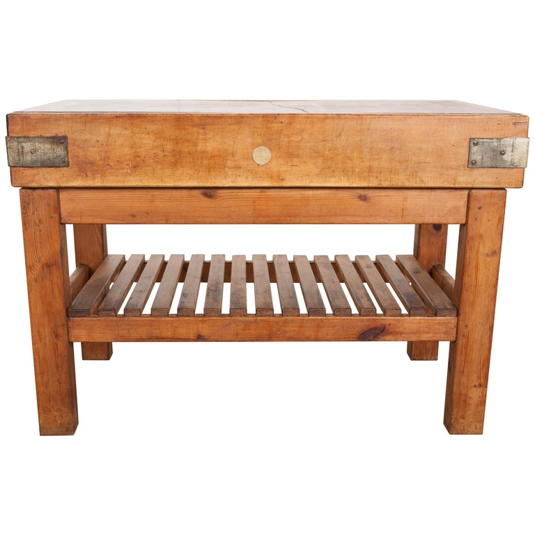 French Early 20th Century Pine Butcher Block
