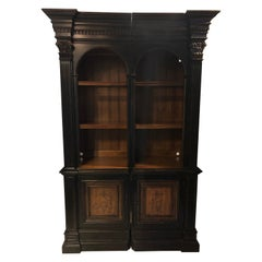 Two-Piece Bookcase Cabinet Paint Decorated by Hooker