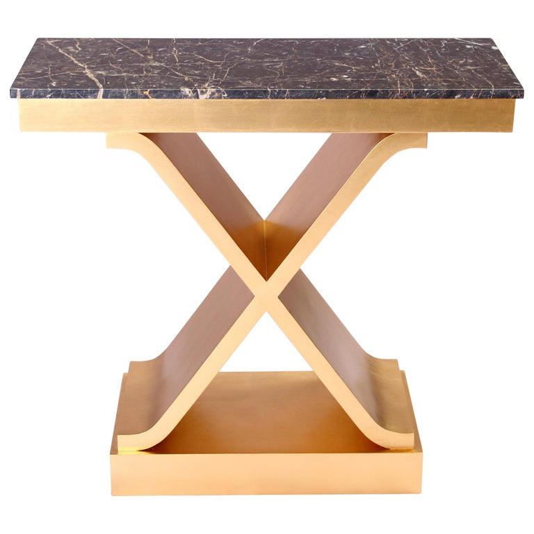 Gold-Plated Contemporary Stone Top Console Table For Sale