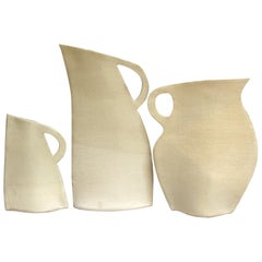 Set of Three White Stoneware Flat Vases by Alison Owen