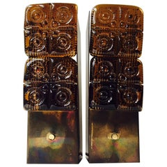 Midcentury Brass and Amber Glass Sconces by HAGS, Austria, Vienna, 1950s