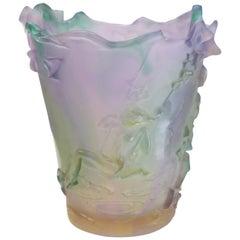 Large Daum France Art Glass Pate de Verre Swing Lady Fairy Vase Ltd of 250