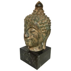 Bronze Buddha Head on Marble Stand