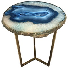 Unique Blue White Agate Stone Side Coffee Table
