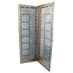 Art Deco Style Etched Glass Folding Screen