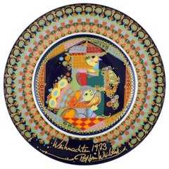 "Rare Hand Painted Rosenthal Bjørn Wiinblad Christmas Plate from 1973, ""Melchior"""