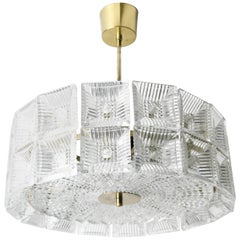 Two-Tier Orrefors Crystal Flush Mount Designed by Carl Fagerlund,1970 Sweden
