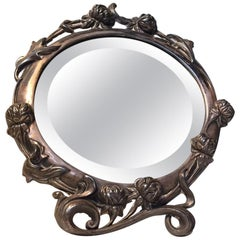 Victorian Standing or Wall Mounted Vanity Mirror in Pewter, 19th Century